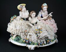 UNTERWEISSBACH Porcelain Dresden Lace Figural Musical Theme Group German