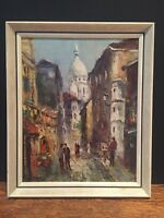 Vintage Mid Century Oil On Board Paris Signed Impressionist Painting Art Antique