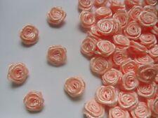 "3/8"" (W) Peach Satin Ribbon Roses Appliques-Lots of 100 pcs (R0030P)"