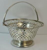 1899 Victorian Hallmarked Silver Pierced Basket Dish with Handle