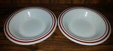 CORNING Restaurant Ware Soup  Dessert Bowls ~White Maroon Stripes  Set of 2