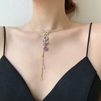 New 925 Silver Rhinestone Crystal Chain Pendant Clavicle Necklace Women Jewelry