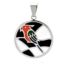 Stainless Steel Multi Color Bird Design Disk Pendant, Free Bead Ball Chain