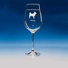 More details for norwegian elkhound dog lover gift personalised engraved fine quality wine glass