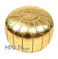 MPW Plaza Pouf, Gold, Moroccan Leather Ottoman (Stuffed)
