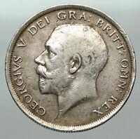1918 Great Britain United Kingdom UK King GEORGE V Silver Half Crown Coin i85093