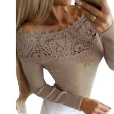 Womens Lace Off Shoulder Blouse Tops Long Sleeve Casual Slim T Shirts TP
