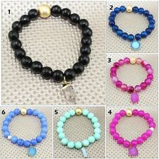 Diamond Stretchable Bracelet Fashion Jewelry Handmade Black Onyx Bead Herkimer