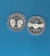 LA Liberté retrouvée  100 Francs en argent 1994 Général de Gaulle Adenauer