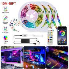 50ft LED Strip Lights Xmas Sync Music RGB Lights Bluetooth APP Remote Waterproof