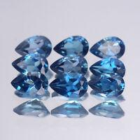 9x6mm Lot 1,2,6,10pcs Pear Calibrated Natural Loose Gem London Blue Topaz Brazil