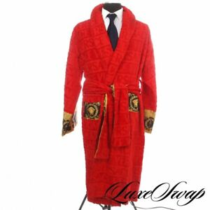NWT Versace Made in Italy Cherry Red Allover Logo Barocco Trim Pool Robe XXL NR
