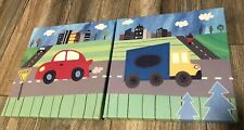 Oopsy Daisy Too Transportation Theme Kids Wall Art Red Car Blue Truck Lot Of 2