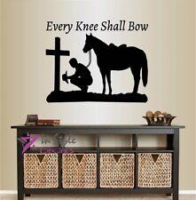Vinyl Decal Every Knee Shall Bow Cowboy Praying Cross Horse Western Sticker 2382