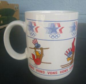 vintage 1984 Los Angeles Olympic Coffee Mug Cup gymnastics Sam the Eagle Vons