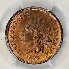 1876 INDIAN HEAD CENT PCGS MS-65 RED BROWN