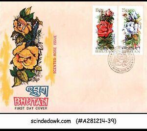 BHUTAN - 1973 ROSE FLOWERS - 2V - FDC