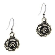 Style By Grace Of New York Rose Flower Dangle Silver Earrings Leverback Antiqued