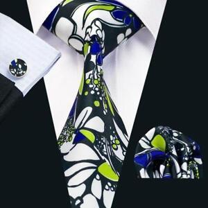 Silk Tie Cufflinks & Handkerchief Tie Clip Gift Box Set Blue Green White Floral