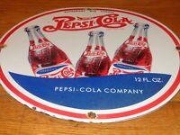 """VINTAGE DRINK PEPSI COLA W/ 3 BOTTLES 11 3/4"""" PORCELAIN METAL SODA POP GAS SIGN!"""