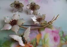 "Ocean Treasures STERLING 4"" MOP Flower spray Butterfly brooch & earrings"