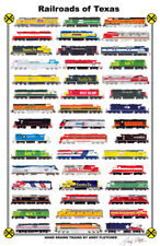 "Railroads of Texas 11""x17"" Railroad Poster by Andy Fletcher signed"