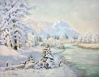 Philipp Graf (1874-1947) sign. Gouache Wettersteingebirge bei Garmisch im Winter