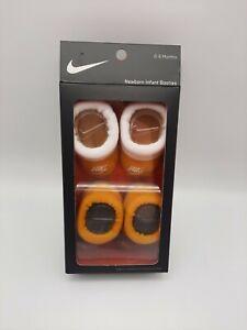 Nike Newborn Infant Booties Yellow & Gray Baby Crib Socks 0-6 Months 2 Pack