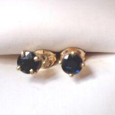 fine 14K yellow gold sapphire pierced stud earrings
