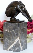 Bronzeskulptur Athlet Mann Skulptur Bronzefigur Bronze Marmor Erotik Swimmer Neu