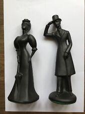 Royal Wessex Lady & Gentleman Black Silhouette Ceramic Figurines