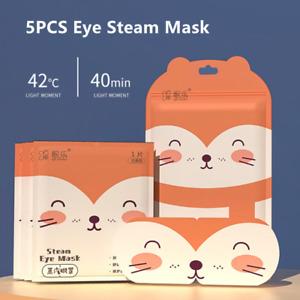 5PCS Orange Fox Eye Steam Mask Soft Sleep Relieve Fatigue Over Worked Eyes New