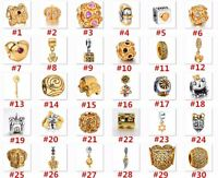 Hot Gold Plated Silver Charms Beads Fit European Sterling 925 Silver Barcelet