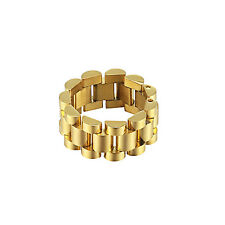 Mens Presidential Link Ring Hip Hop 14K Gold Tone Stainless Steel Size 9 Classy