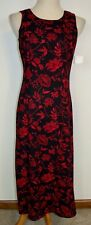 New Danny & Nicole Dress Sleeveless Black Red Floral Maxi 8P