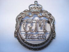 SCARCE GM GEORGE V & QUEEN MARY 1910-1935 SILVER&MARCASITE SOUVENIR PIN BROOCH