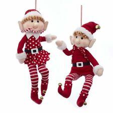"2-PK Adler 15"" Fabric Elf CHRISTMAS Ornament SET of 2 ELVES D3479 NEW WOW!"