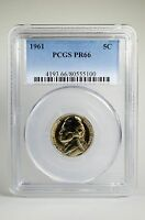 PR66 1961 JEFFERSON NICKEL PCGS GRADED 5C PROOF COIN LIBERTY US PR 66 TYPE 1