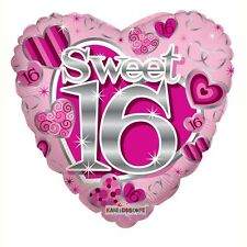 "16th Birthday Party Decoration Sweet Sixteen Heart Shaped 18"" Foil Balloon"