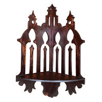 Antique Gothic Victorian Carved Walnut Cathedral Wall Corner Hanging Shelf