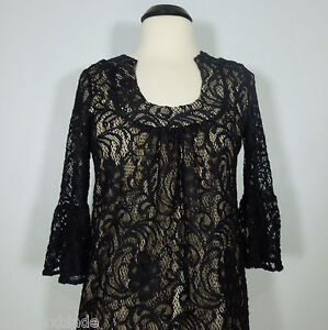 INC INTERNATIONAL CONCEPTS Women's Black Lace Overlay Tunic Top size 8