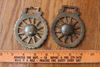 Horse Medallion Set Brass Bridle Saddle Badge Ornament Vintage Wagon Wheel Sun