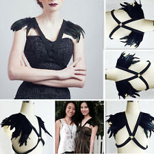 Harajuku  goth body harness, black Feather SHOULDER wing harness bra
