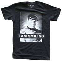 Star Trek Spock I Am Smiling Black Men's T-Shirt New