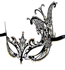 SPLENDIDA Farfalla Nera Stile Veneziano Metallo Filigrana Masquerade Maschera Diamante