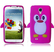Samsung Galaxy S4 S IV Rubber SILICONE Skin Soft Case Phone Cover Pink Penguin