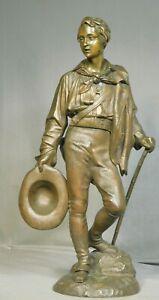 Antique French Bronze Statue Sculpture SIGNED Calmet 1880s  Male Alpine Savoyard