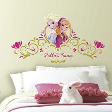 Disney Princess ANNA ELSA Frozen PERSONALIZED HEADBOARD WALL DECALS NeW Stickers