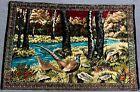 "RARE VINTAGE 75"" Large LEBANON Rayon Velveteen Pheasant Nature Woven Tapestry"