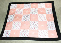 "Handmade Patchwork Quilt Peach White Black Flowers Small 30 ½"" x 24 ½"" EUC"